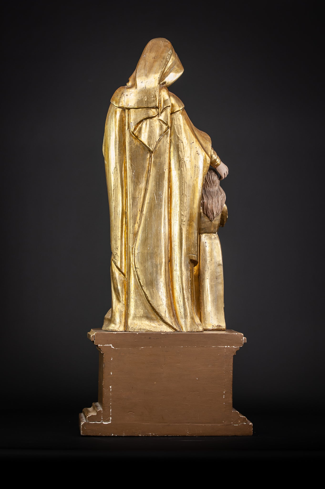 Antique St Anne with Mary Gilded Wood Sculpture 28.7""