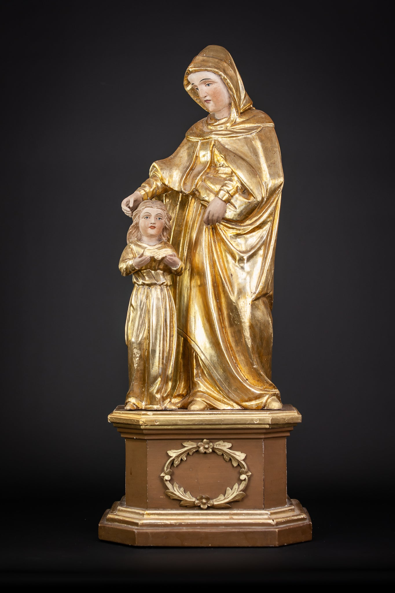 St Anne Gilded Wood Carving Statue 28.7""