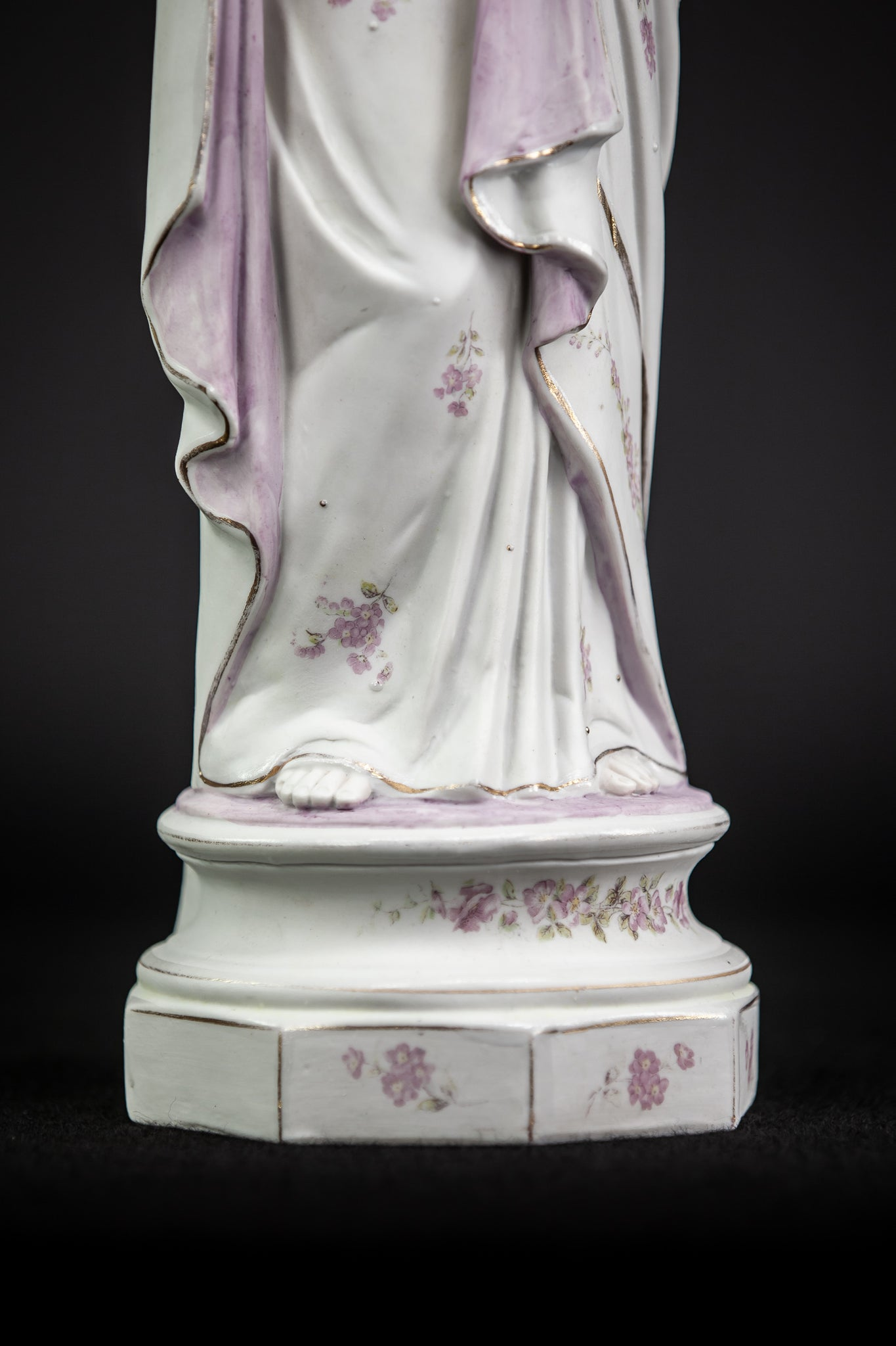 Virgin Mary Statue | Immaculate Heart | Antique Porcelain 18.3""