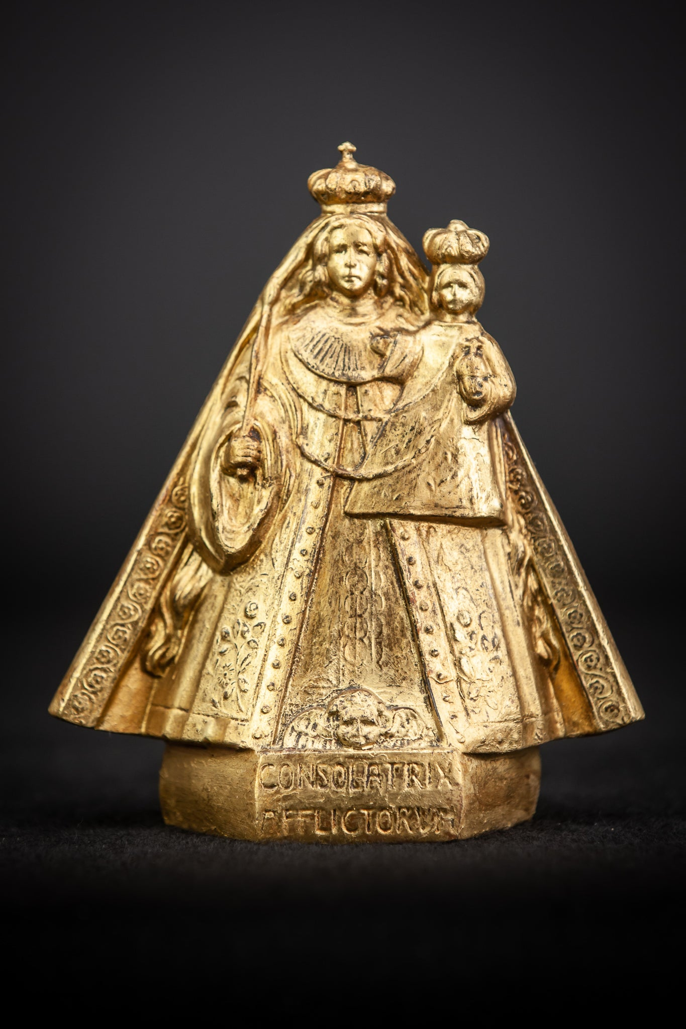 Our Lady of Consolation with Child Jesus Gilt Metal Figure