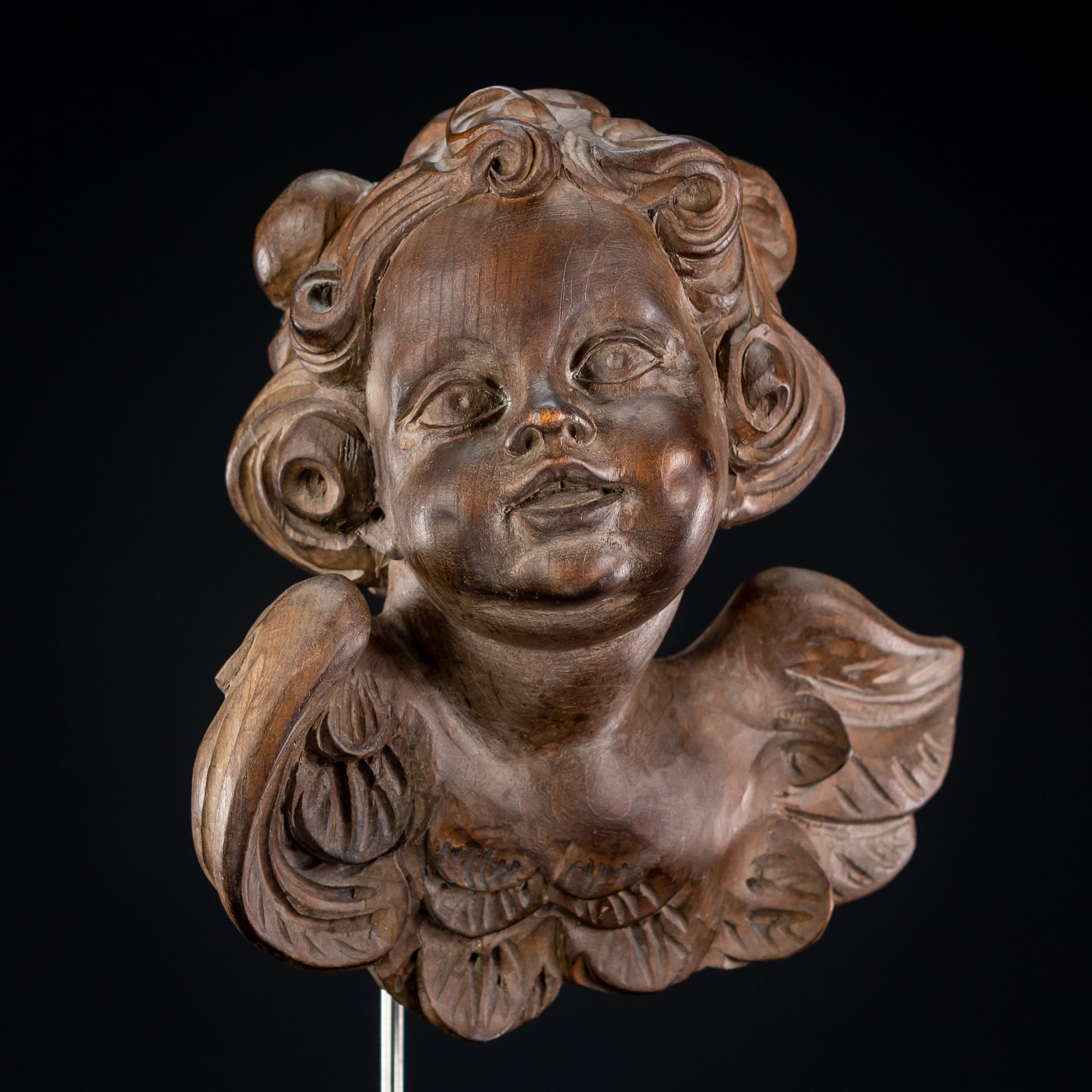 Angel Sculpture | Antique Wood Carving 9.5""