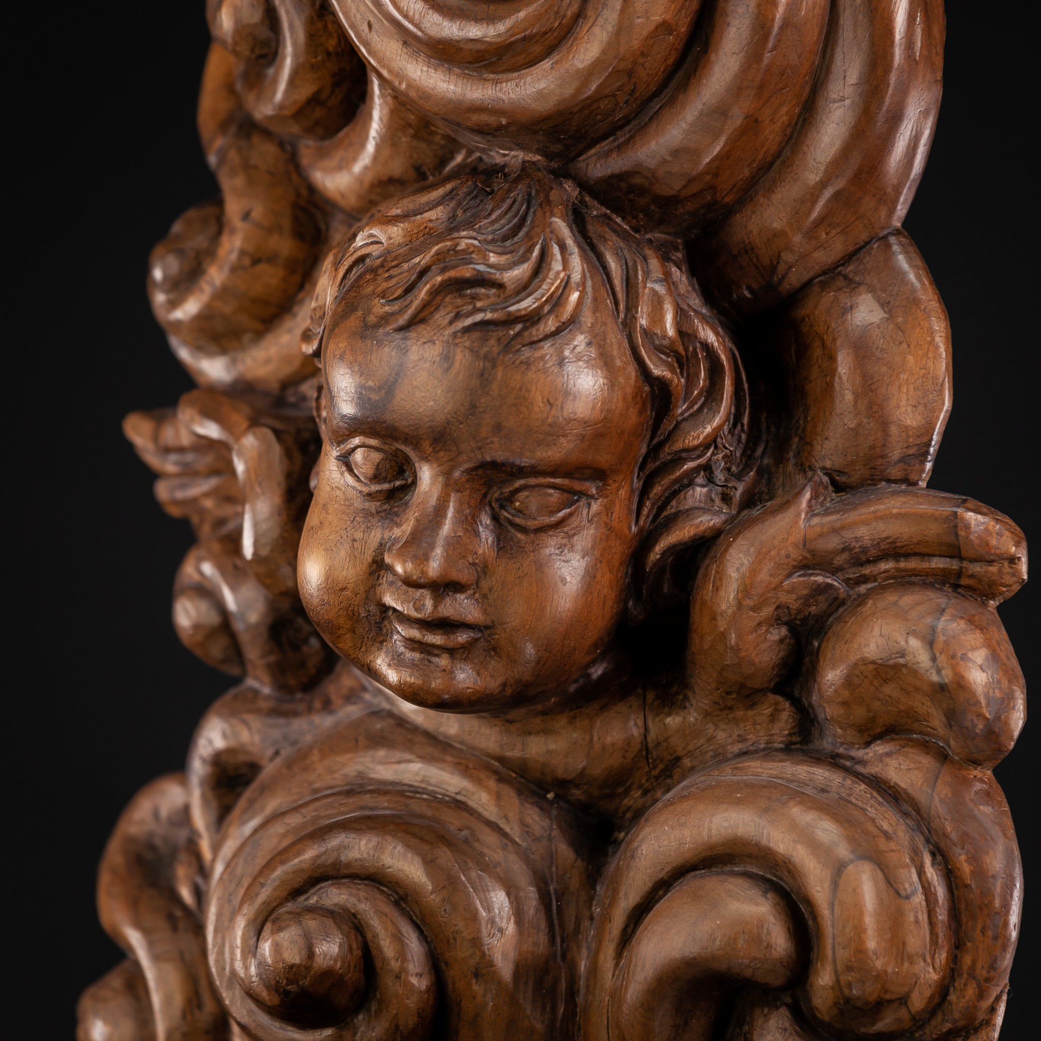 Angel Sculpture 1700s Wooden Figure 31''