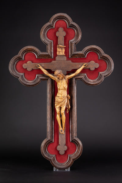 Crucifix Wall | Carved Jesus Christ 1800's | 21.3""