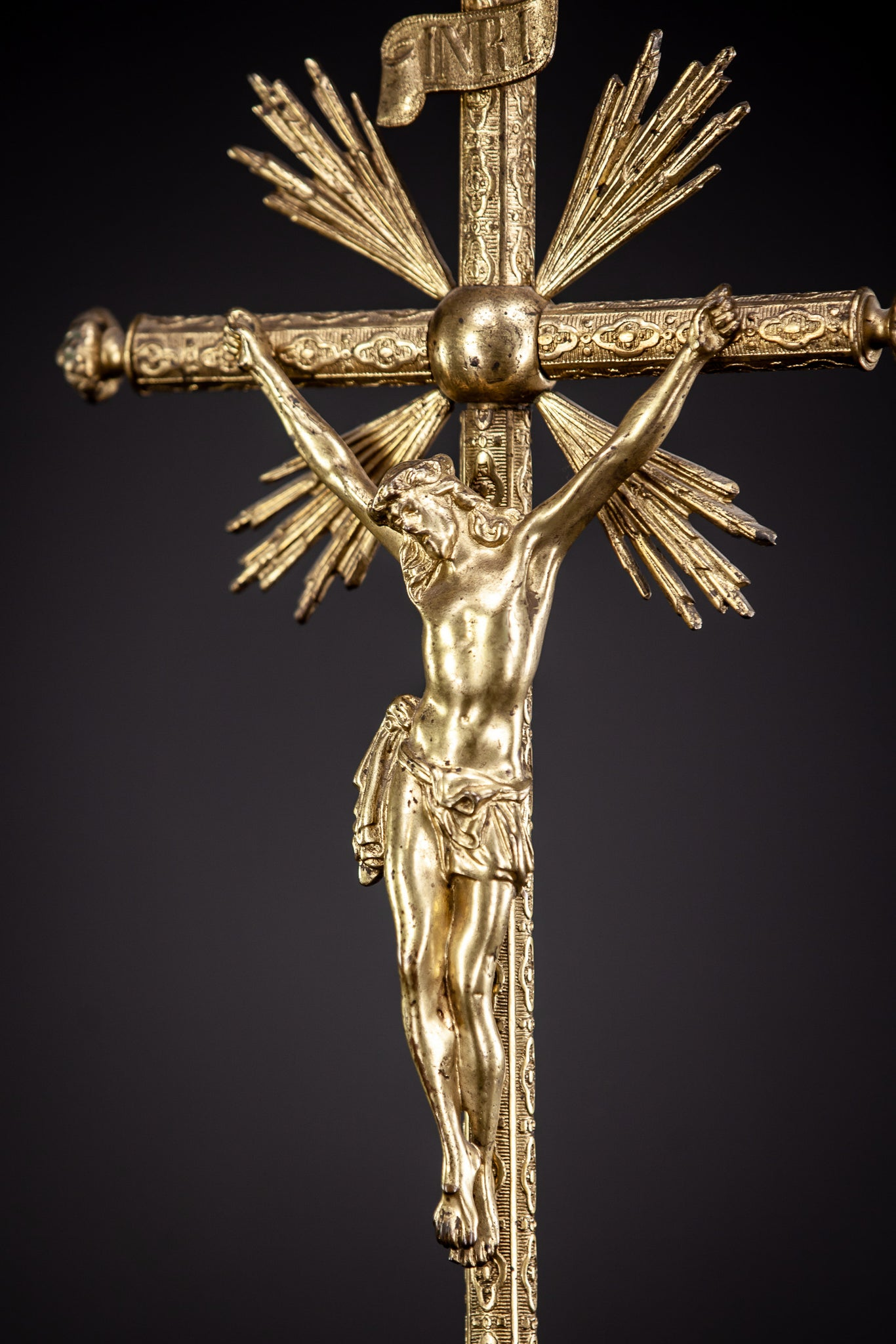Altar Crucifix Gilt Bronze 23""