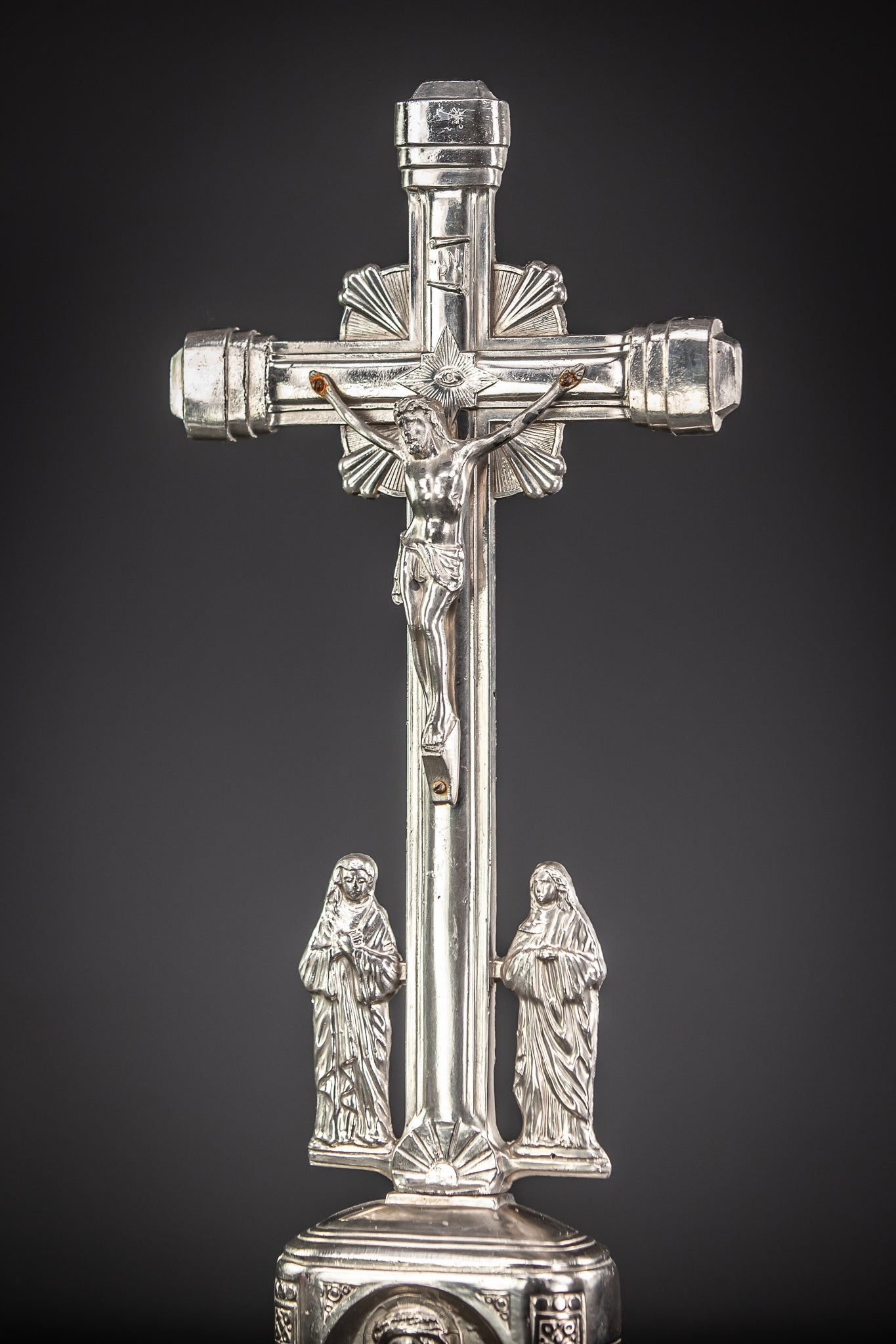 Altar Crucifix Jesus Virgin Mary St John Silvered Metal 17.5""