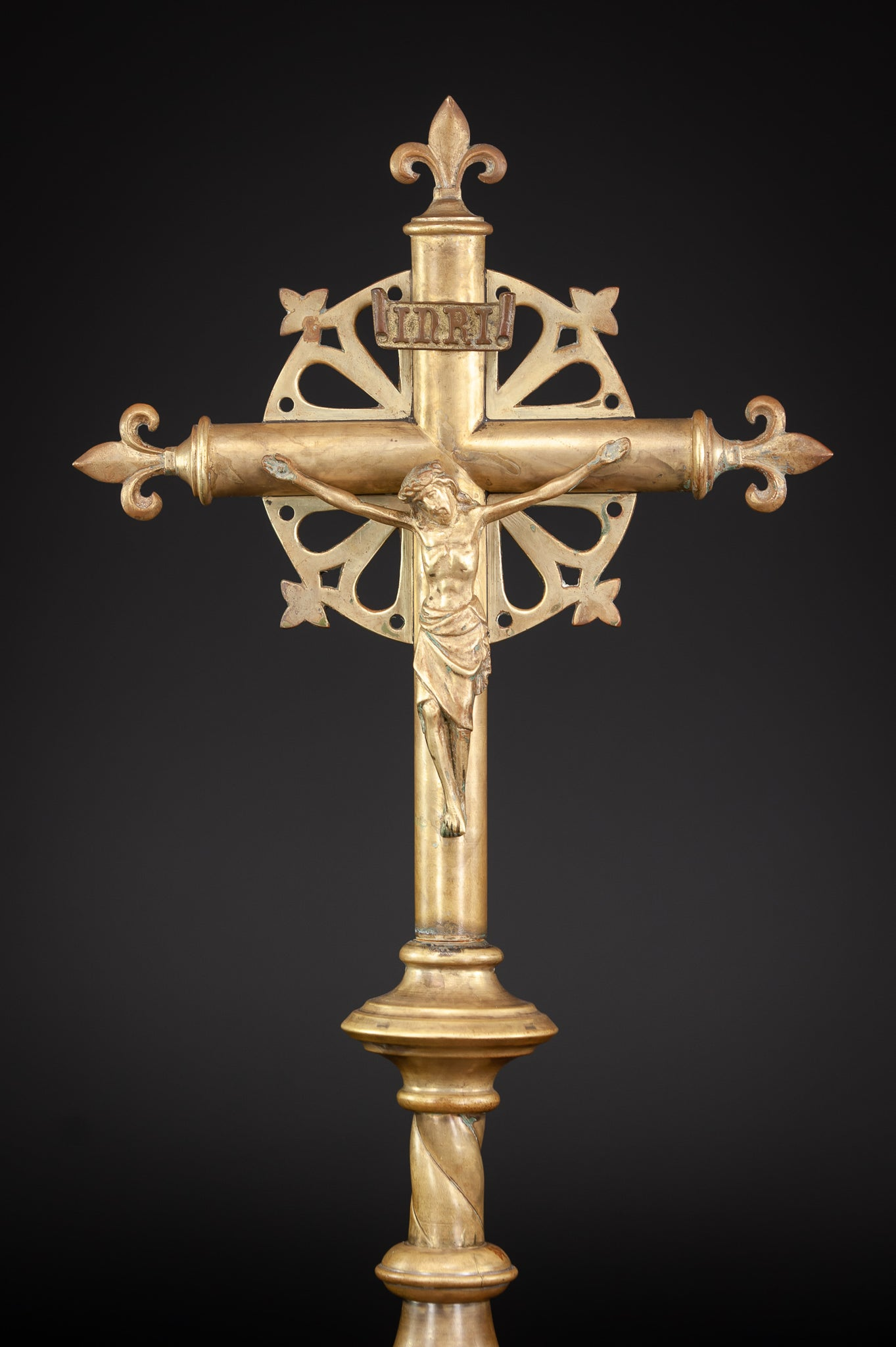 Altar Crucifix Gilt Bronze Brass Cross 17.5""