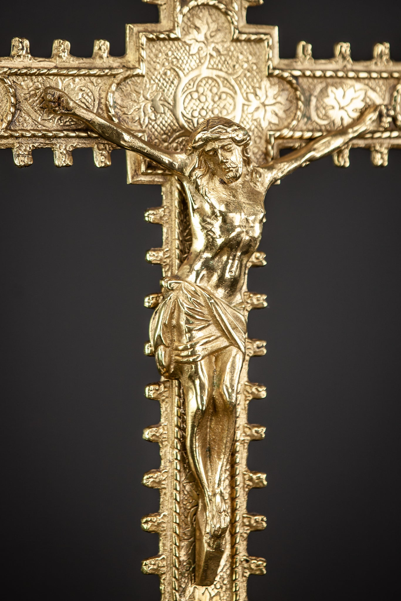 Altar Crucifix Gilded Bronze Christ Crucifixion 23.6""