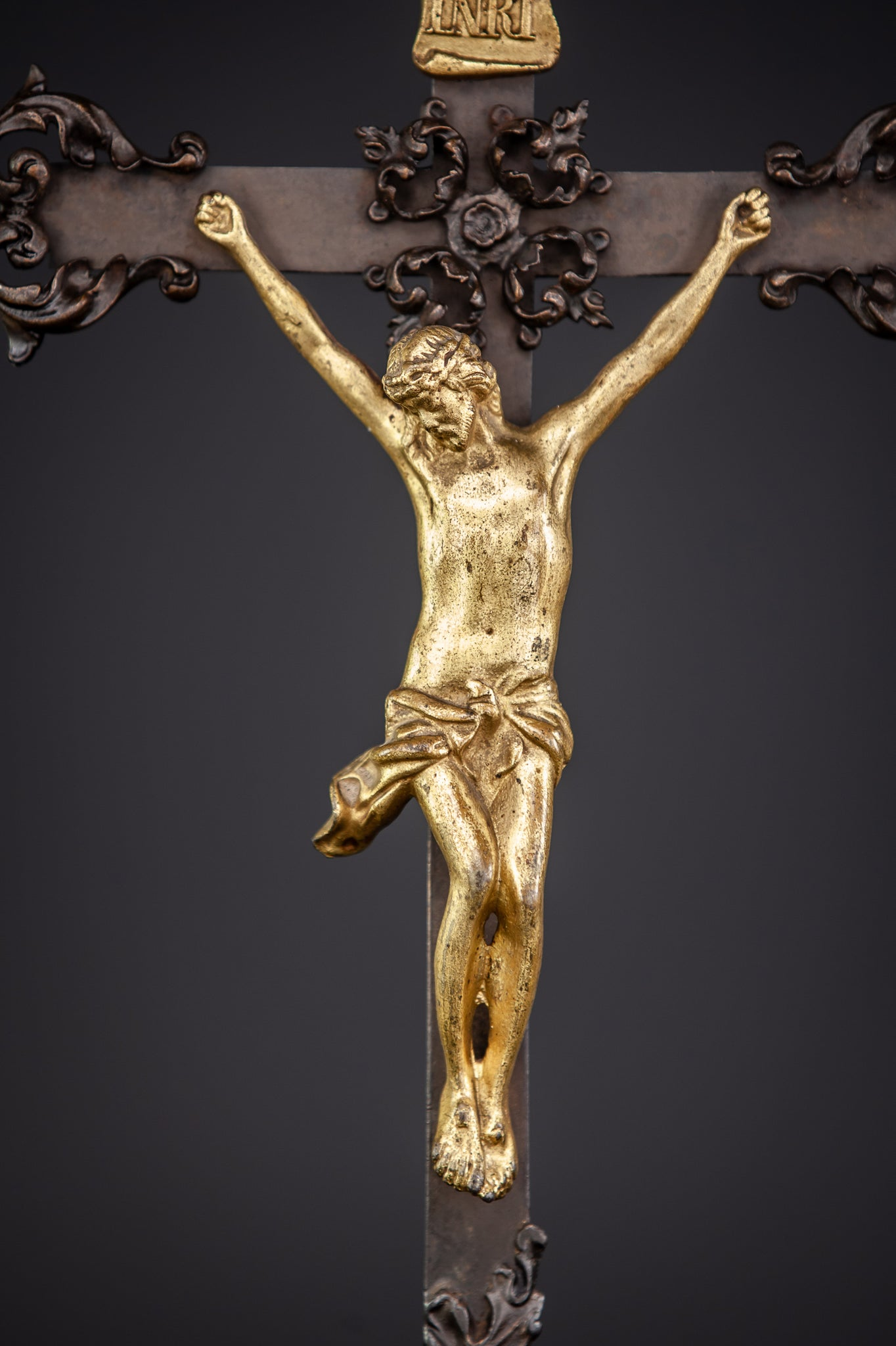 Altar Crucifix Patinated Bronze Cross 20""