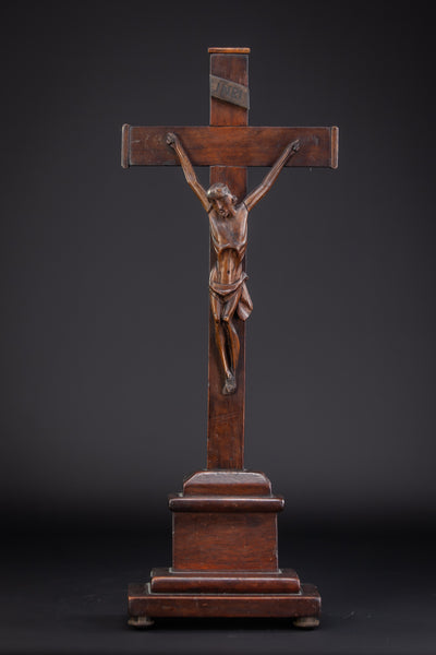 Altar Crucifix Wood Carving Jesus Christ 17.3""