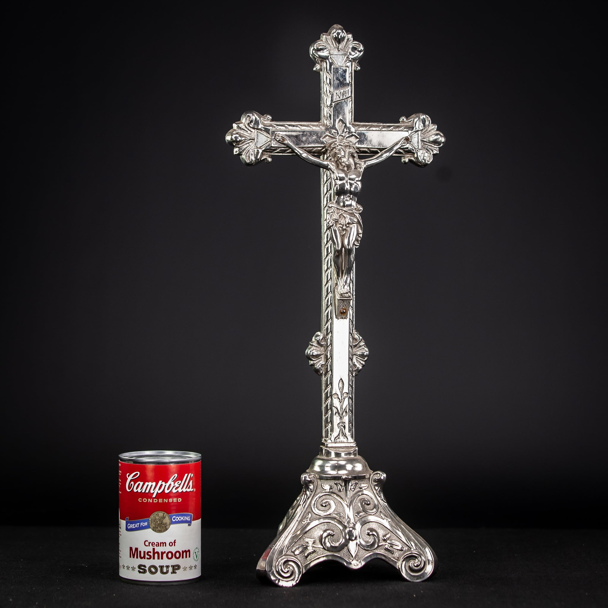 Crucifix Altar Silvered Metal 17.9""