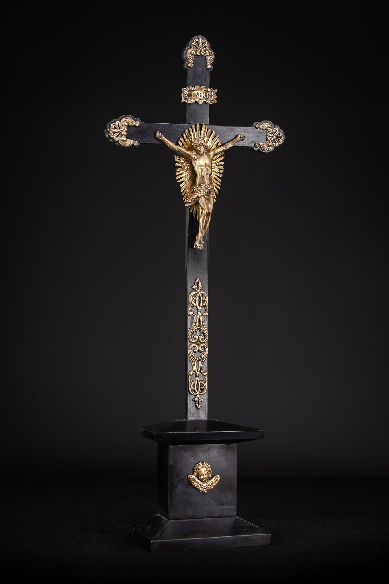 Altar Crucifix Wooden Cross 1700s Bronze Corpus Christi Angel 26.8""