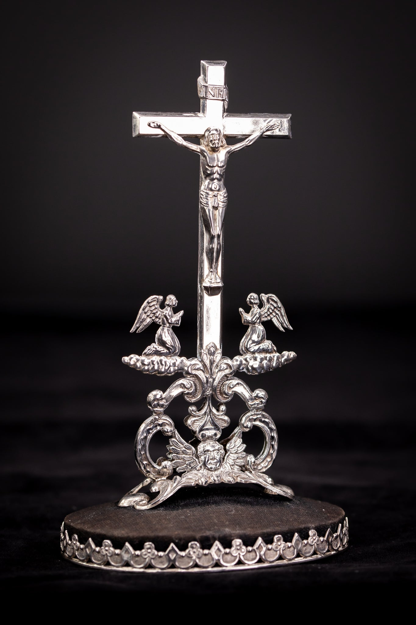 Crucifix Solid Silver Baroque Angels Glass Dome