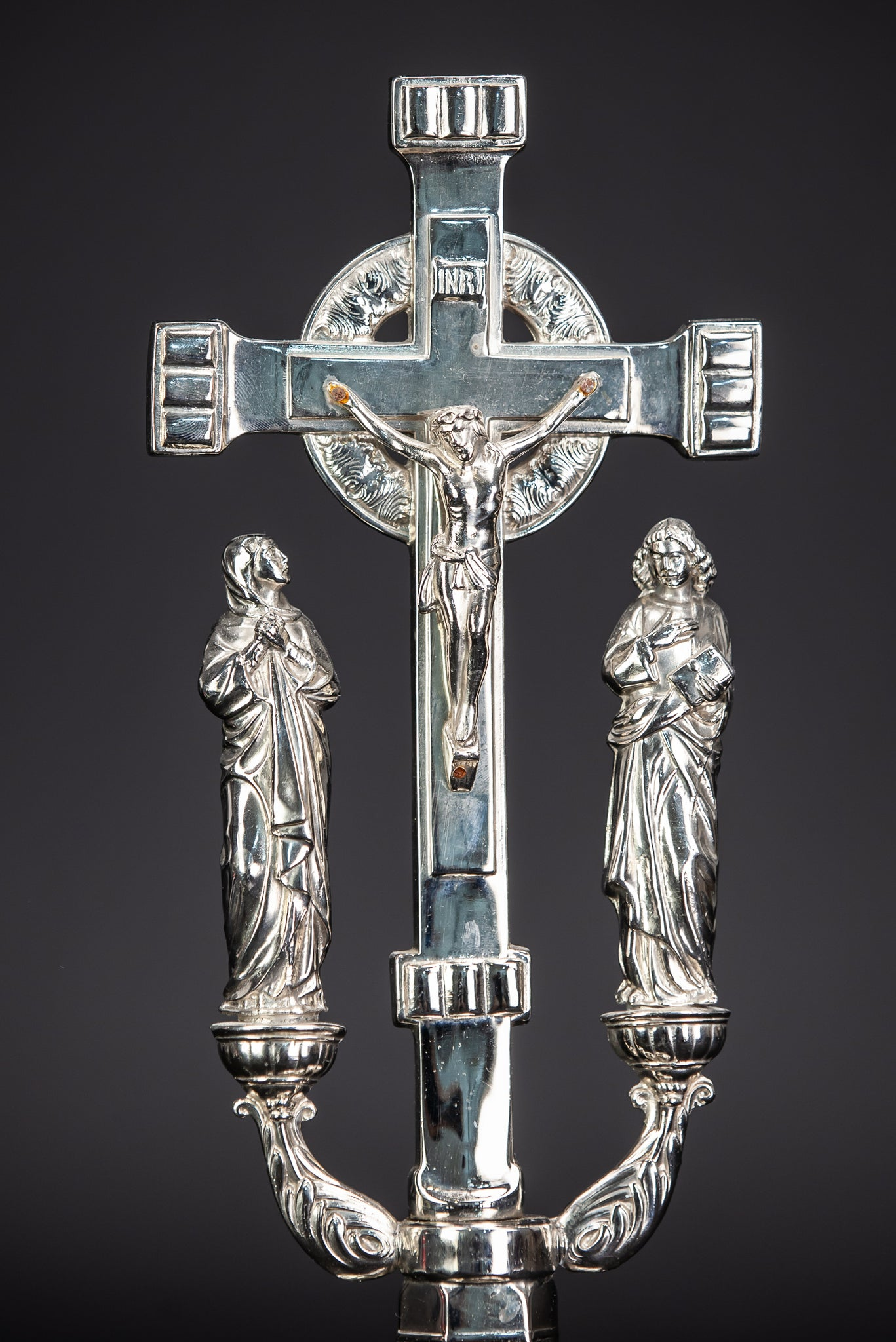 Crucifix Altar | Jesus Christ Mary John | Silvered Metal | 14.2""