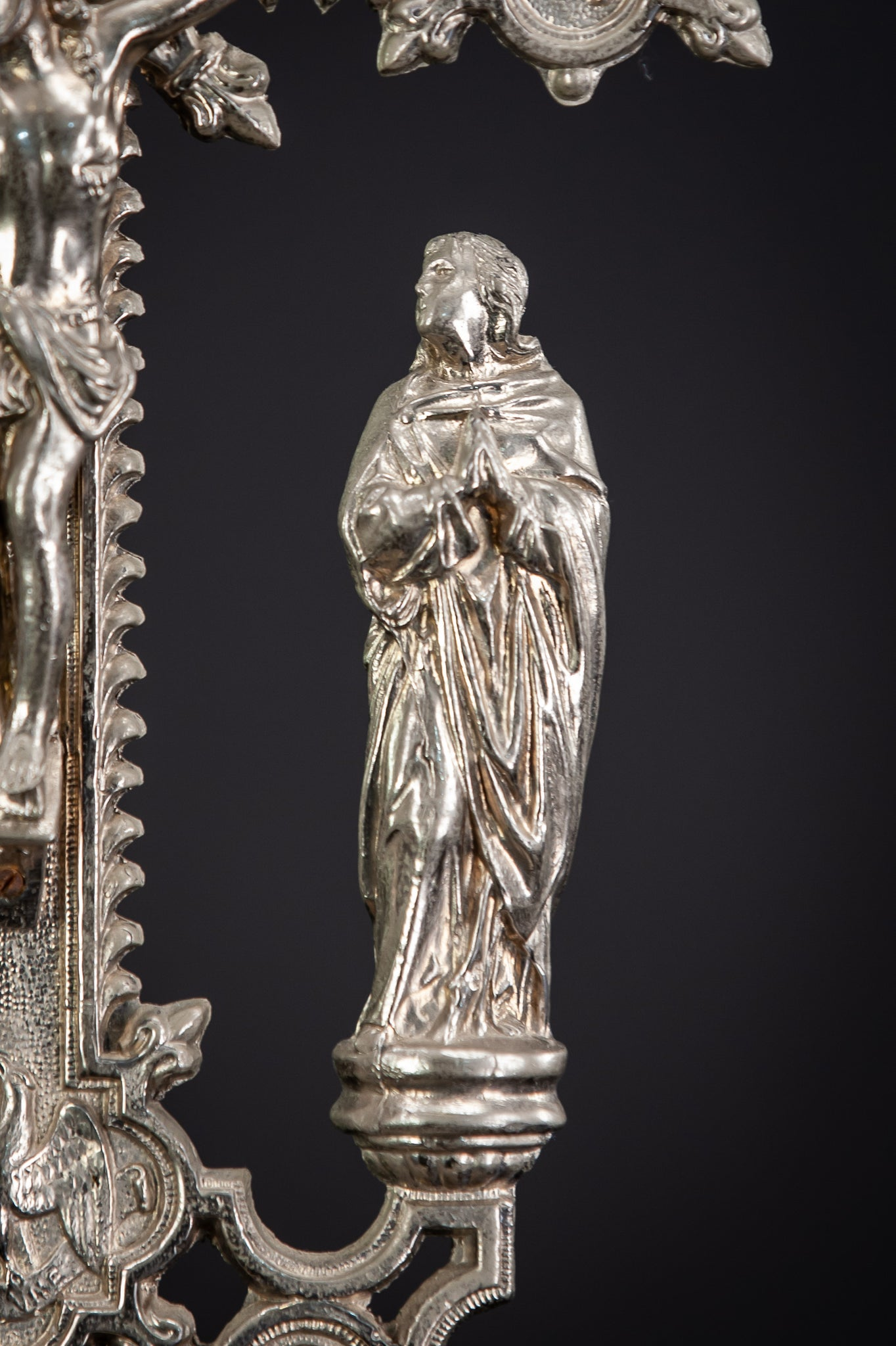 Altar Crucifix Jesus Virgin Mary St John Silvered Metal 18""