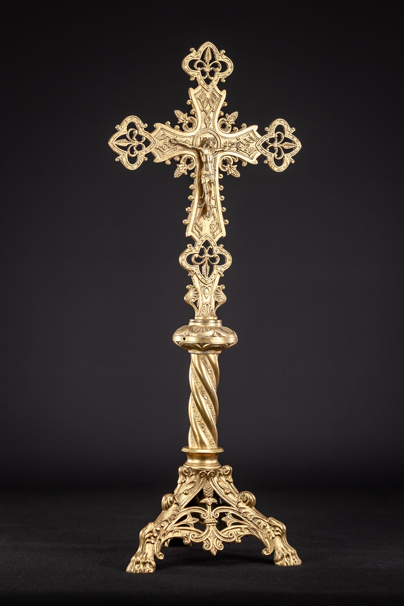 Standing Church Gilt Bronze Cross 24""