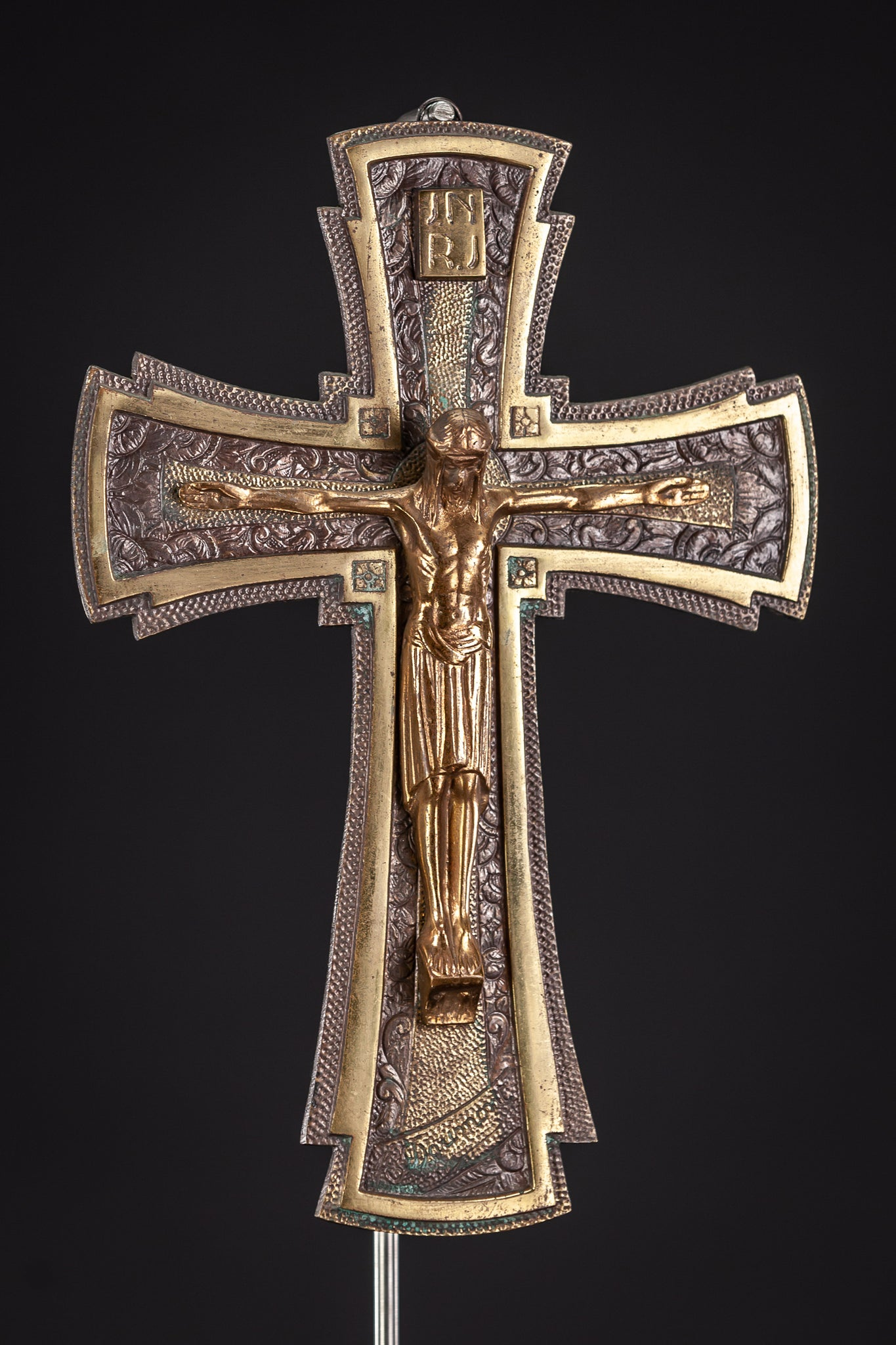 Crucifix Wall Art Deco Bronze Cross 11""