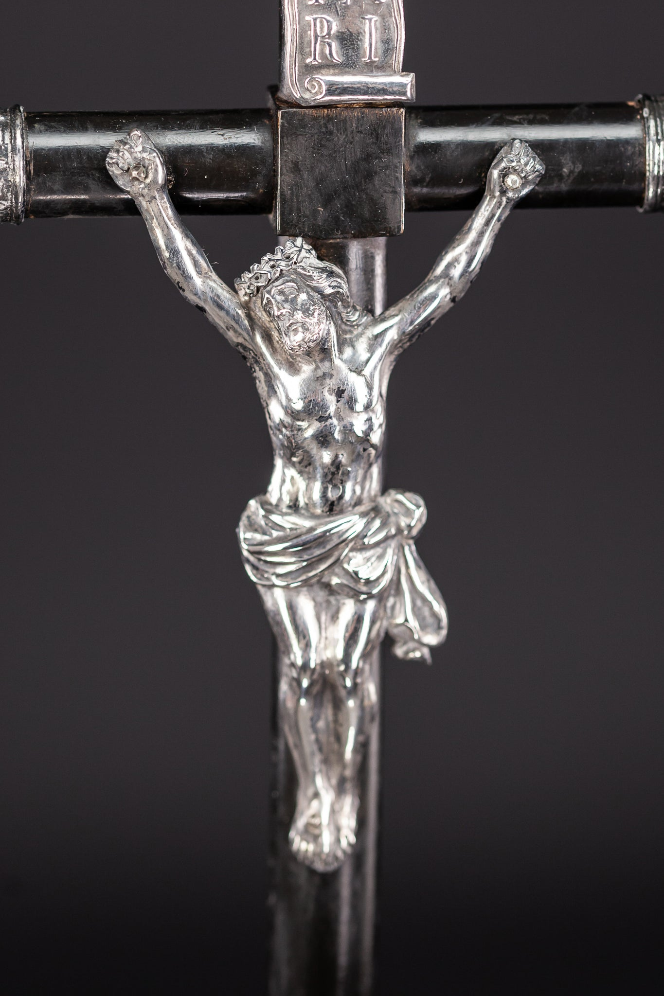 Standing Wooden Antique Cross | Solid Silver Jesus Christ 22.8""