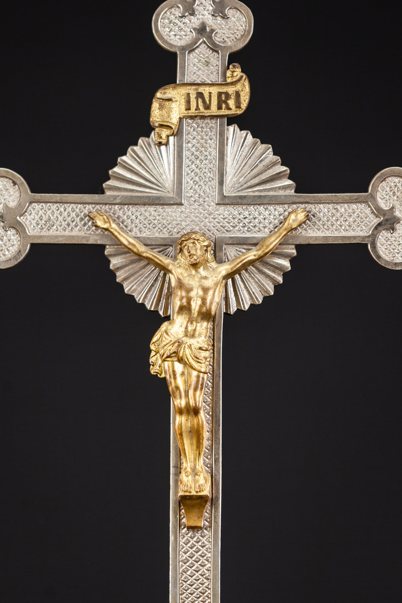 Altar Crucifix Bronze Silver Plated Standing Cross 16.5""