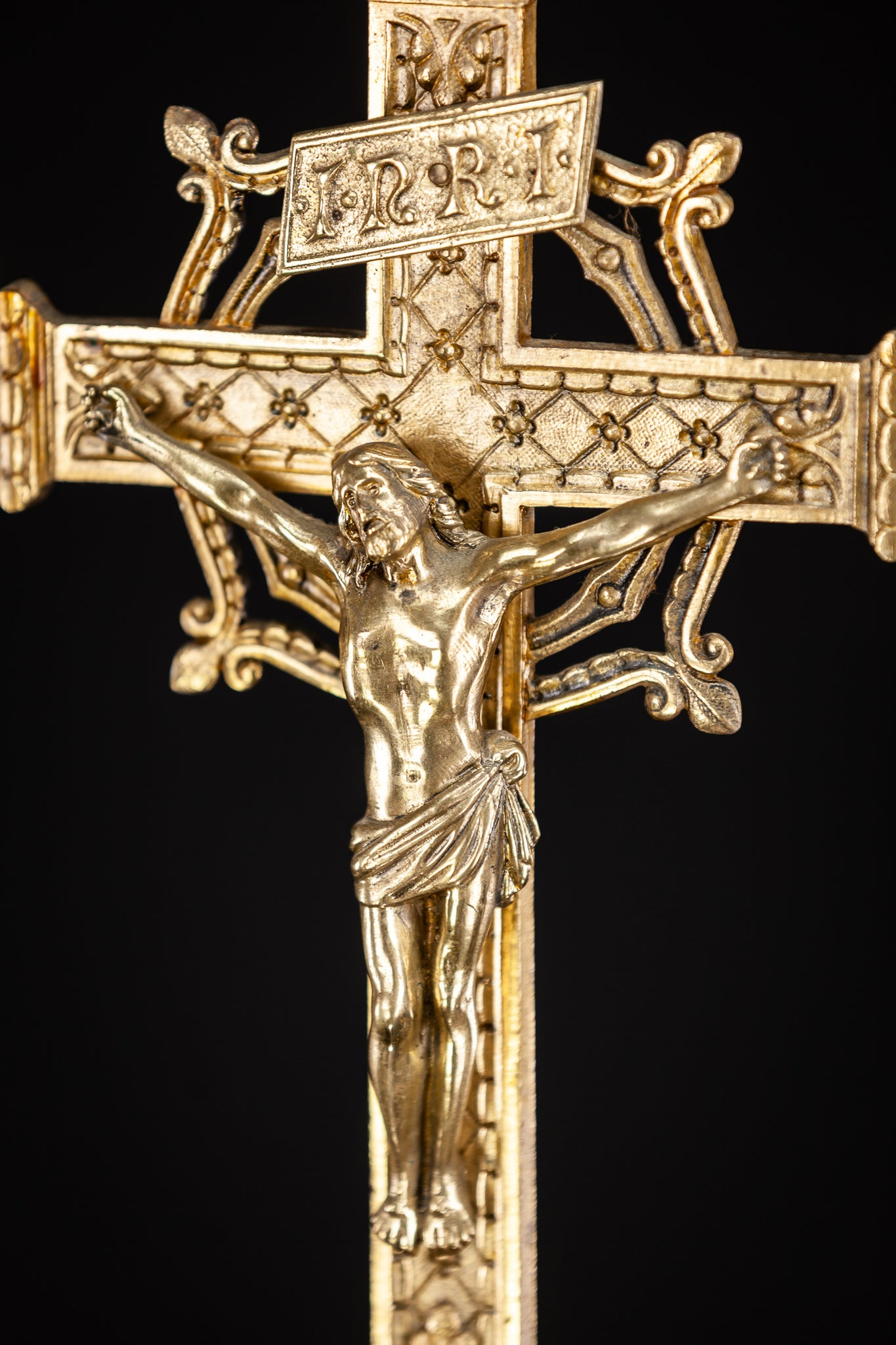 Altar Crucifix Standing Gilt Bronze Cross  25.6""