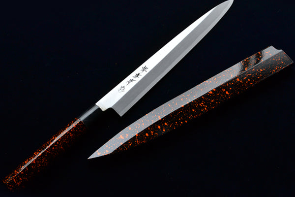 "INOX Molybdenum Steel Stainless Yanagiba Lacquered Handle, ""KINCHA(Gold Brown)"""