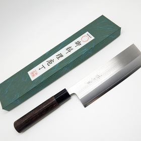 SKD Powdered Stainless Steel, Nakiri 165mm Black Chestnut Handle