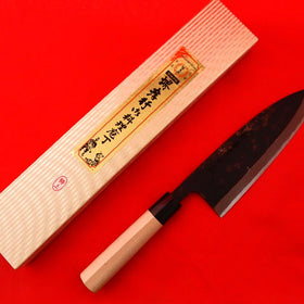 Yasuki White Steel #2, TOKUJOU  Sakekiri Salmon Knife, Black Forging Finish