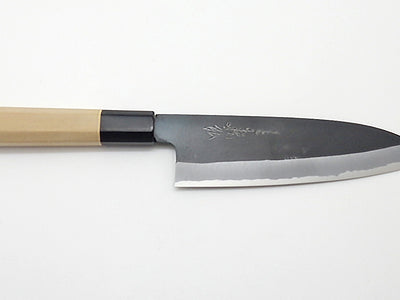 Yasuki White Steel #2, KUSP Chef's Santoku Black Forging Finish