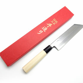 YuiSenri Kasumitogi Yasuki Yellow Steel, Mukimono Knife 180 mm Professional D-shaped Handle