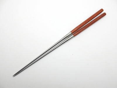 Professional MORIBASHI Chopsticks,Honyaki Stainless Tip, Satine Red Handle