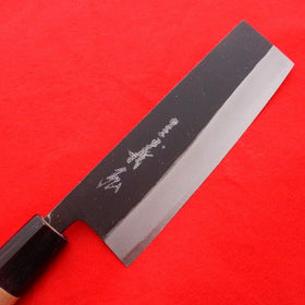 Yasuki White Steel #2, KUSP Chef's Nakiri 165mm Black Forging Finish
