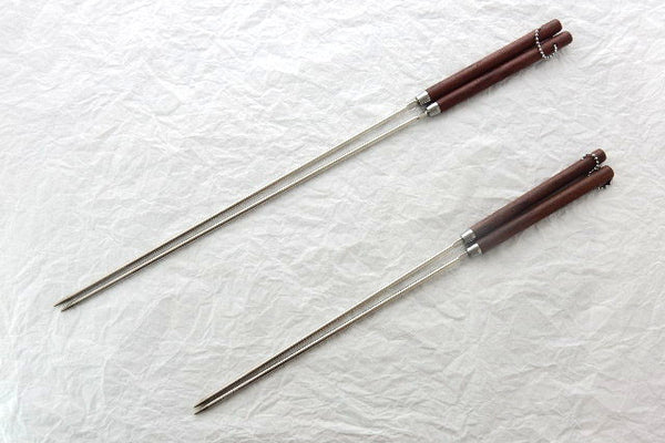 Professional Tempura Chopsticks(Stainless Steel), with Wooden Handle