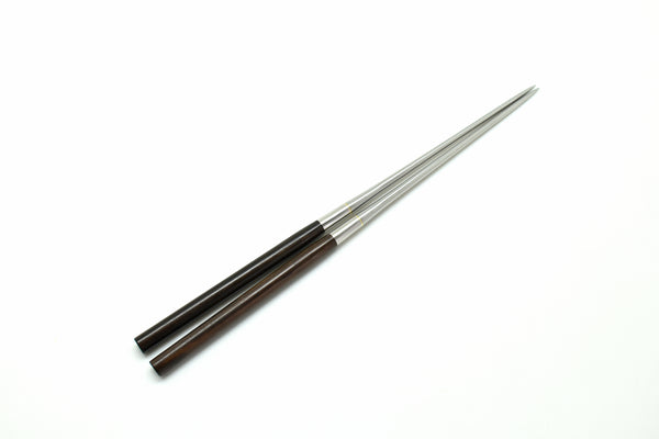 Professional MORIBASHI Chopsticks, Honyaki Stainless Tip Round Ebony Handle