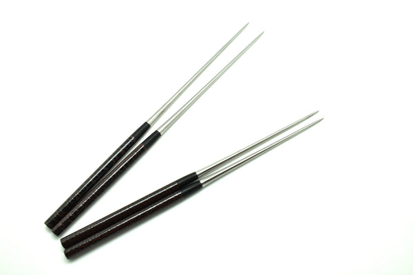 "Professional MORIBASHI Chopsticks,Honyaki Stainless Tip, Lacquered Handle, ""Pine Bark"""