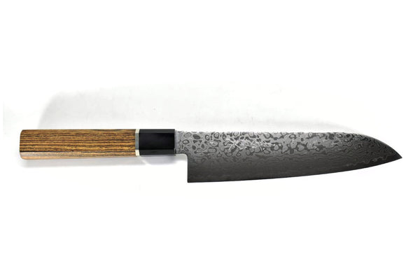 Cobalt Stainless ZAD 69 Layers High Light Damascus Santoku Professional Bocote Handle