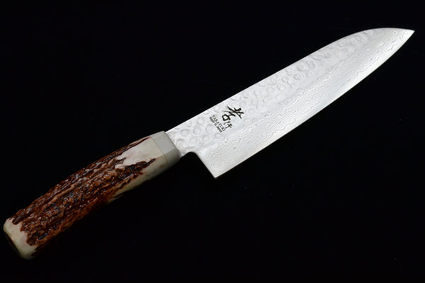 45 Layers Hammered Damascus Japanese Style Santoku 180 mm Antler Handle