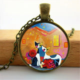 Colorful Cat Silhouette Glass Dome Necklace