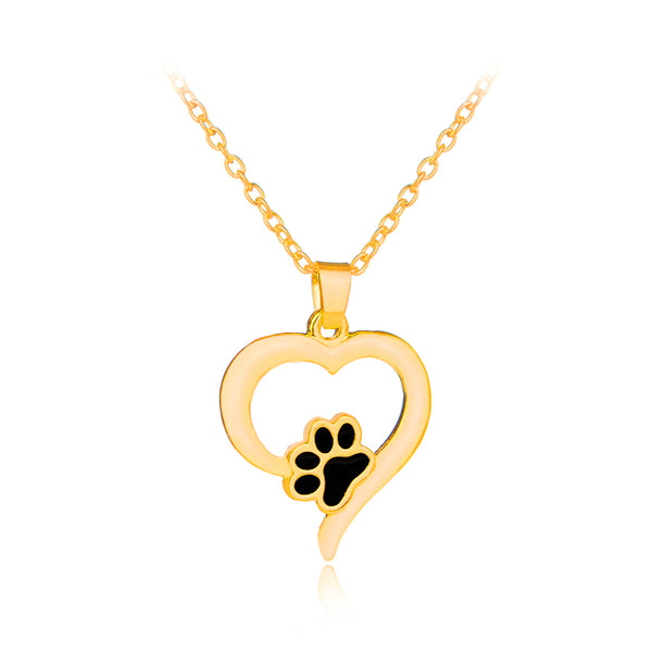 Dog Paw Heart-Shaped Necklace