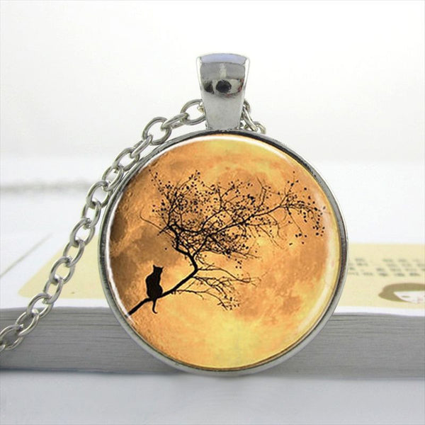Cool Blue Moon & Cat Pendant Necklace