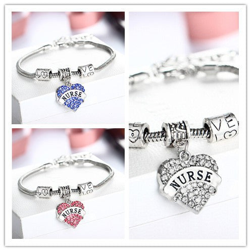 Nurse Love Heart Rhinestone Crystal Bracelet  Free Shipping