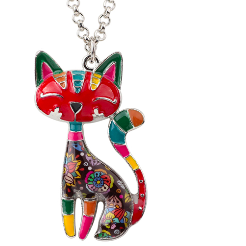 Statement Enamel Cat Pendant Choker