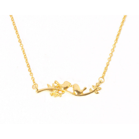 Adorable Lovebirds On Branch Choker Necklace