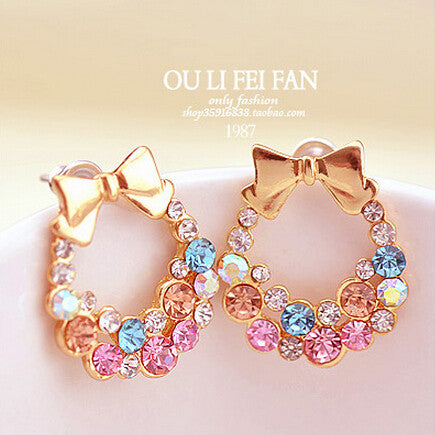 New Rasha Fashion Imitation Mixed Color Rhinestone Bow Earrings Vintage Jewelry For Her