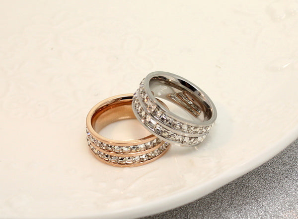 Geometric Crystal Zircon Rose Gold Promise Ring Wedding Engagement