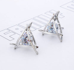 Beautiful Rasha Exquisite Triangle Pierced Crystal Zircon Stud Earrings