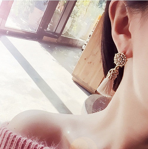 2017 New Rasha Vintage Bright Brick Earrings