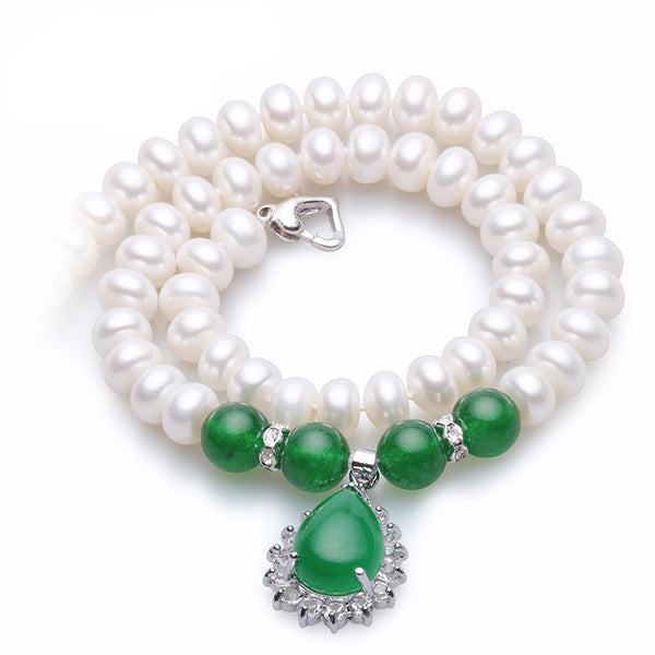 New Rasha Classic Green agate natural pearl necklace