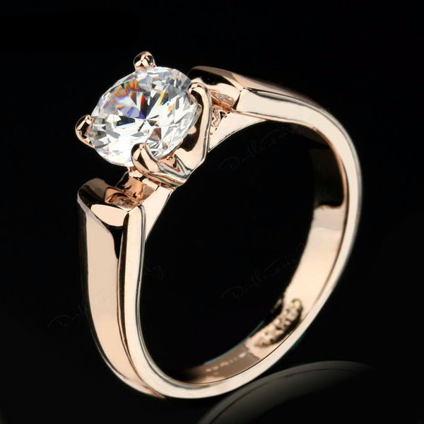 Rasha Round Cut Cubic Zircon Engagement Rings Silver/Rose Gold
