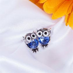 Crystal Women Charms Cute Owl Stud Colors Earrings Fashion Jewelry