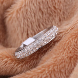 Three row clear crystal Stainless steel Wedding rings