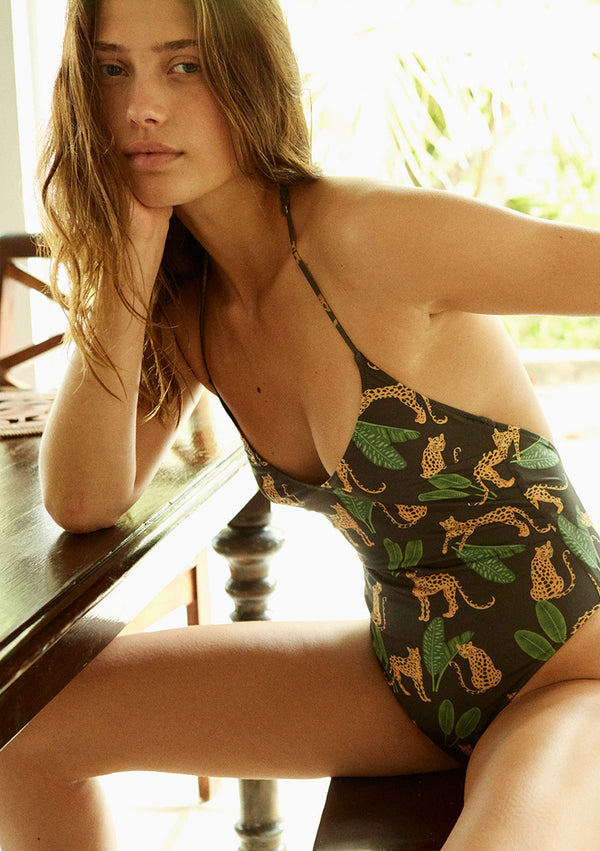 Leopard print one piece made from sustainable fabrics, ethically made. Sustainable swimwear brand from Barcelona.